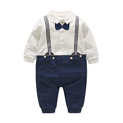 DecStore Baby Jungen Krawatte Gentleman Spielanzug Overall Overalls Spielanzug Formell Outfit(Navy+White 9-12M) (Formale Tuxedo Boy Hochzeit Schwarz)