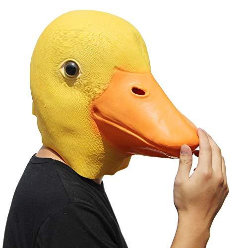 Gummi Kostüm Ente - XINXUN Ente Maske Lustig Latex Gummi Halloween Maske Tiermaske Kostüm Ente Gesicht Kopfmaske für Halloween Kostüm Dekoration Party Kleid Outfit Zubehör, Gelb