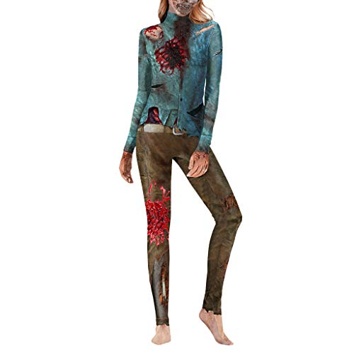 Deep lovly Damen Bodysuit SexyFrauen Halloween Jumpsuit Langarm Overall Casual Zipper One Piece Kostüm Strumpfhose Oansatz Lässige Strampler Rückenfrei Schmal Geschnittenes Langarmseil Jumpsuit (Kostüm Ringe Aus China)