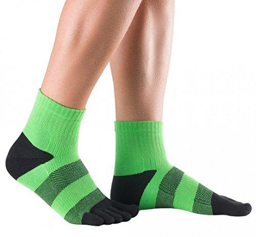 Knitido Track & Trail Flash | Kurze Sport-Zehensocken aus Coolmax®, ideal zum Laufen und Joggen, robust und bequem, für Damen und Herren (bis Gr. 46), in Grün und Orange, Größe:43-46, Farbe:Grün / Schwarz (Zehensocken Coolmax)