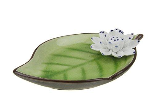 YJZQ Räucherstäbchenhalter Porzellan Lotus Blumen Räuchergefäß Weihrauch Brenner Halter Asiatisch Stäbchenhalter zum Räuchern von Räucherstäbchen (Blume Weihrauch)
