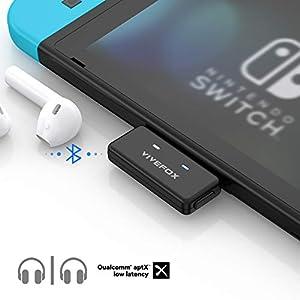 Bluetooth Adapter für Nintendo Switch, Vivefox Bluetooth 5.0 USB C Audio Transmitter Plug and Play APTX Low Latency für…