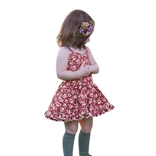 ❤️Elecenty Mädchen Prinzessin Kleid,Baby Rückenfrei Festzug Kleider Blume Drucken Tüllkleid Hochzeit Kleid Partykleid Abendkleider Riemen Babykleidung Cocktailkleid Kinderkleidung (90, Mehrfarbig) (Riemen-kleid Büste)
