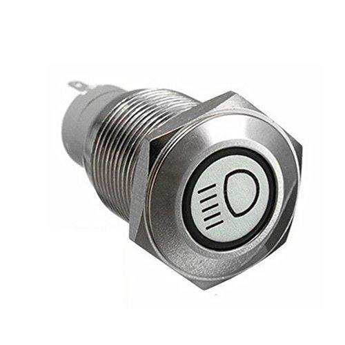 Mintice™ 16mm bleu LED 12V bouton poussoir voiture métal interrupteur faisceau principal