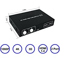 MY-SH0201K HDMI KVM Switch 2 Port with 4K Ultra HD 1080P 3D Supports Windows 2000/XP/Vista Linux and Mac for PC Monitor Keyboard Mouse DVR NVR(USB 2.0 Hub)