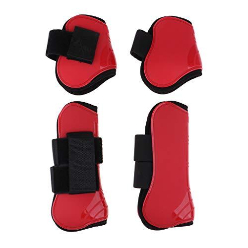 P PRETTYIA 2 Paires de Protège Boulet de Cheval Accessoire Protection Jambe Arrière Kit Equitation - Rouge, 25,6 x 11,8 cm