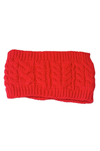 Chaud Chunky Cable EXTENSIBLE doux tricot bonnet Slouchy red