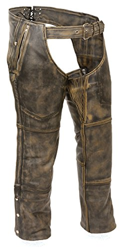 BROWN DISTRESSED LEATHER BIKER CHAPS XL Unisex Classic Chap