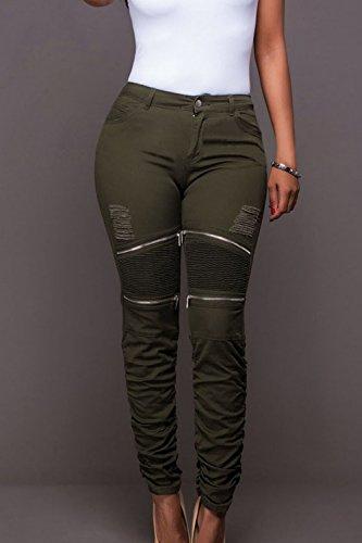 YACUN Femmes Pantalon Taille Haute, Des Pantalons De Chevilles Jambières Darkgreen