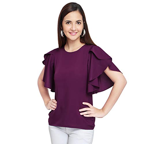 OOMPH! Women's Plain Regular fit Shirt (mt43l_Eggplant Purple_Large)