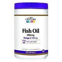 21st Century, Fish Oil, Omega-3, 1000 Mg, 300 Softgels