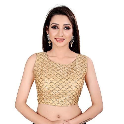 Spangel Fashion Sequence Work Round Neck Women's Saree's Blouse (Medium, Gold)