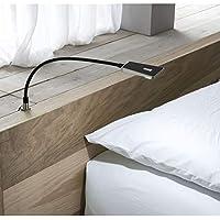 secotec quickbuy24–Lámparas LED; negro; Cuello de cisne con fuente; 1pieza Flex lámpara de luz