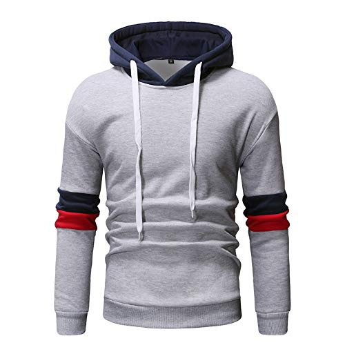 Fannyfuny Sweatshirt Herren Langarm Hoodie Männer Langarm-Patchwork Hoodie Pullover Pulli Sweatshirt Jacke Outdoor Casual Lose Slim Tracktop Sweat Herbst Warme Stylisch Hoody Weiß, Marine, Grau M-3XL -