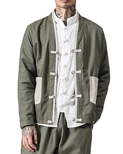 Tang-Anzug Langarm-Shirt Für Herren - Chinesische Traditionelle Trachten Kung Fu Tai Chi Oberteile Baumwoll Leinen Mantel Armee-Grün L -