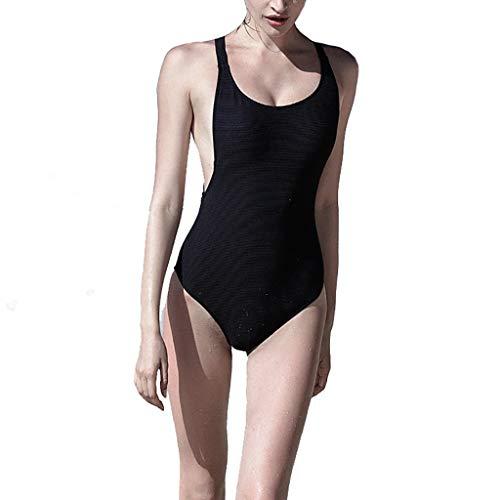 LFY Costume da Bagno Nero Un Pezzo di X-Tipo con capezzina ad Alette per Addome Era Sottile (Dimensioni : S.)
