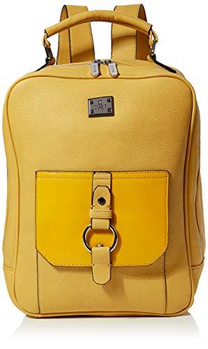 Bessie London Damen Silver Ring Featured Laptop Backpack Rucksackhandtasche, Gelb (Yellow), 13x37x28 Centimeters