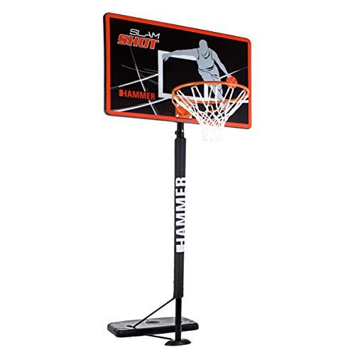 HAMMER Slam Shot Basketballanlage inkl. Basketballtrainer Ball Return und Mikasa Basketball, 5-Fach Verstellbarer Basketballständer, NBA-Standard-Höhe bis zu 3,05 Meter, Modernes Backboard-Design