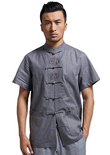 Insun Herren Leinen Hemd Handgefertigte Stickerei Tai Chi Hemd mit chinesischen Frosch Knoten Tasten Grau Blau