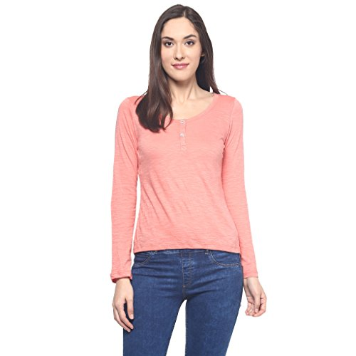 9Zeus Full Sleeves / Long Sleeves Round Neck Orange T-shirt for Women  available at amazon for Rs.299