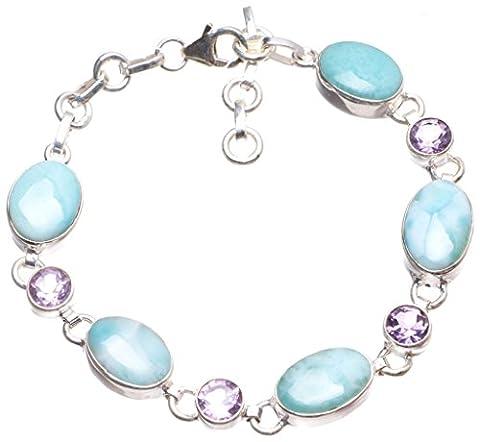 StarGems(tm) Natural Caribbean Larimar and Amethyst Handmade Vintage 925 Sterling Silver Tennis Bracelet 7 1/4-8