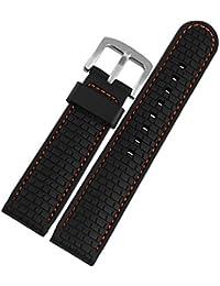 Reloj de la venda de la correa de caucho de silicona de color negro 22 mm resistente al agua una milla al norte de la sustitución de la hebilla de la naranja de costura