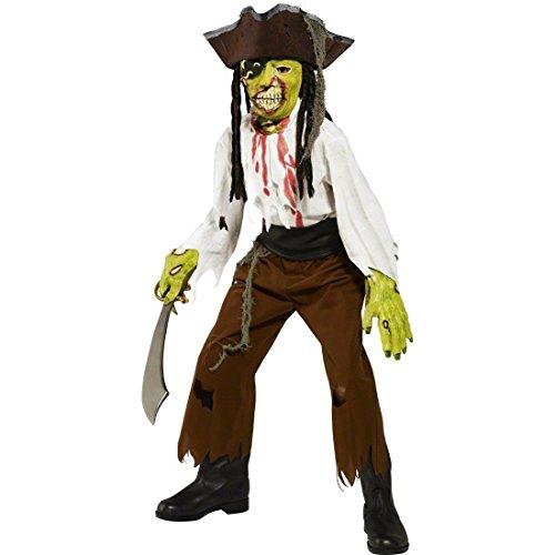 Kostüm Kind Piraten Zombie (Kinder Kostüm Zombie Pirat Halloweenkostüm M - 130-143 cm 7-9 Jahre Piratenkostüm Geisterpirat Zombiekostüm Halloween)