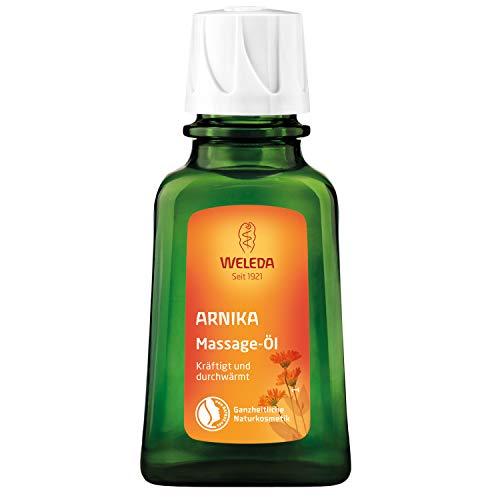 WELEDA Arnika Massage-Öl, pflegendes Naturkosmetik Körper Öl gegen Verspannungen und Verkrampfungen der Muskeln, ideal für vor und nach dem Sport (1 x 50 ml)
