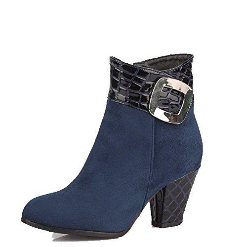 VogueZone009 Damen Niedrig-Spitze Rein Reißverschluss Hoher Absatz Stiefel, Blau, 34