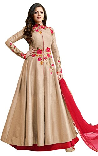 Vishal Fashion Women's Semi-Stitched Georgette Anarkali Salwar Suit (1600_Cream & Red_Free Size)