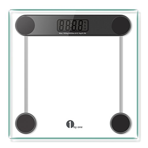 1byone-Digital-Body-Weight-Bathroom-Scale-180kg400lb-Tempered-Glass-and-Step-on-Technology-Precision-01kg02lb-Black