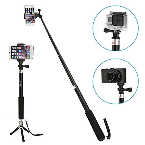 Selfie Stange mit Stativ, iKross 3-in-1 Selfie Stick Stange Einbeinstativ bis 37 Zoll (78cm) mit Halterung & Mini Kamerastativ für Smartphones / GoPro Hero / Digitalkamera - Schwarz