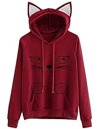 a20ed732e7869e Damen Kapuzenpullover Locker Katzenohren Pullover 3D Druck Cosplay  Sweatshirts Cartoon-Muster Mode Mit Taschen Langarm