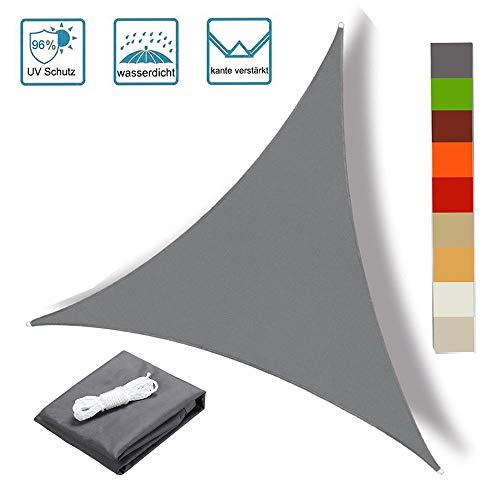 OKAWADACH Sonnensegel Sonnenschutz Polyester 96% UV Schutz Wetterschutz und wasserabweisend imprägniert für Garten Terrasse und Balkon Dreieck (2 * 2 * 2, Anthrazit)
