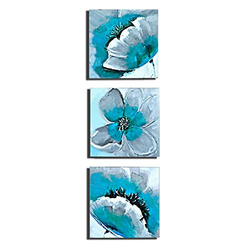 WONZOM 3Pcs/Set Flower Canvas Prints Wall Art Teal Floral Modern Wall Art  Pictures For Home Wall Art Decor Ready To Hang 12x12inch