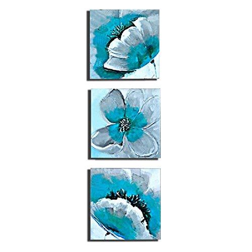 Wonzom 3 Pcs Lot Fleur Impressions Sur Toile Dcoration Murale Bleu Sarcelle Floral Moderne