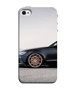 ... PrintVisa Designer Back Case Cover for Apple iPhone 4S (Black Sedan ly  wheels ) 16988a9e9