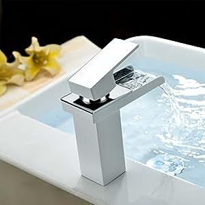 auralum l gant levier unique robinets de lavabo d 39 vier robinets bassin cascade mitigeur avec. Black Bedroom Furniture Sets. Home Design Ideas