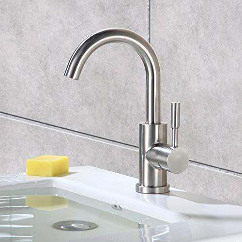 Edelstahlwaschbecken 304 Edelstahl warm und kalt kleine gebogene Wäsche Einlochwaschbecken Waschbecken rotierendes Badezimmer - Rotierende Einlass