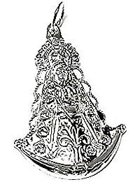 Medalla colgante plata ley 925m 40mm. Virgen Rocío estampada [AA8127]