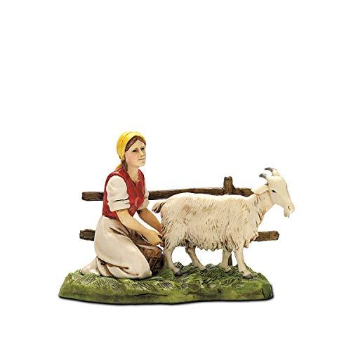 Moranduzzo donna con capra, 10 cm, multicolore