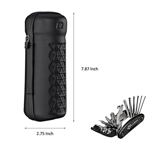RockBros Reparatur Werkzeugtaschen Wasserfeste Taschen Fahrradtaschen Mit RockBros Multifunktioneller Reparatur Werkzeug 16 in 1 Matt Schwarz