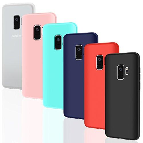 """6 × Custodia Galaxy S9 Cover Silicone , Leathlux Ultra Sottile Morbido TPU Custodie Gel Cover per Samsung Galaxy S9 5.8"""" Rosa, Verde, Rosso, Blu scuro, Traslucido, Nero"""