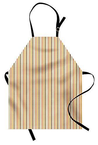 ABAKUHAUS Jahrgang Kochschürze, Retro 60er Jahre 70er Jahre Mode Streifen vertikale Muster Vintage, Farbfest Höhenverstellbar Waschbar Klarer Digitaldruck, Senf Orange Creme ()