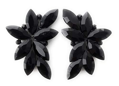 Pendientes Largos Grandes y Espectaculares de Mujer, Bisutería de Alta Gama con Cristales de Colores Fiesta Boda Forma Floral Chapado Platino, Negro