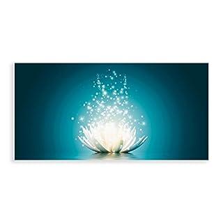 Artland Qualitätsbilder I Glasbilder Magie der Lotus-Blume Deko Glas Bilder 100x50 cm Botanik Blumen Seerose Digitale Kunst Blau D8QG türkis
