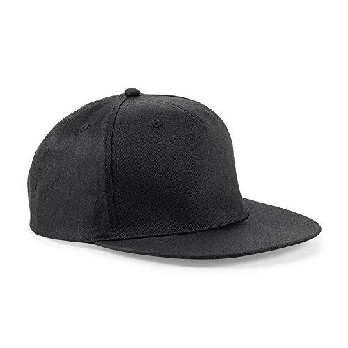 Cappellino Con Visiera Piatta Uomo Cappello Rapper Beechfield Regolabile Cotone, Colore: Nero, Taglia Unica