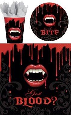 *** - VAMPIRBISS - ( 8 Teller + 8 Becher + 16 Servietten ) Partyset Halloweenset Halloween Tisch Deko (Halloween-angebote)