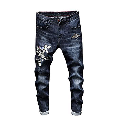 Mode für Männer Casual Persönlichkeit Druck Slim Fit Denim Jeans Hosen Fashion Jeans Blue S M L XL XXL 3XL 4XL 5XL