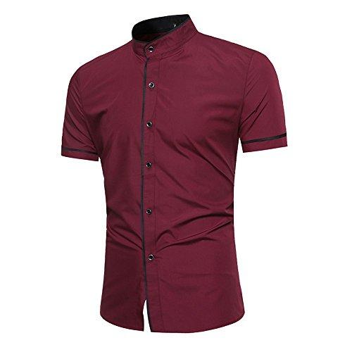 UJUNAOR Oktoberfest Mode Männer Slim Fit Kurzarm Muskel T-Shirt Casual Tops Bluse(Weinrot,CN L)